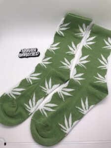Marijuana Socks Green with White Leafs