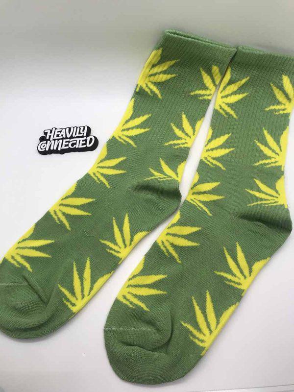 Green Weed Socks with Yellow marijuana Leafs