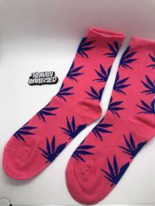 Pink Weed Socks with purple marijuana Leafs