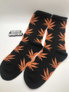 Weed-Socks-Black-Orange