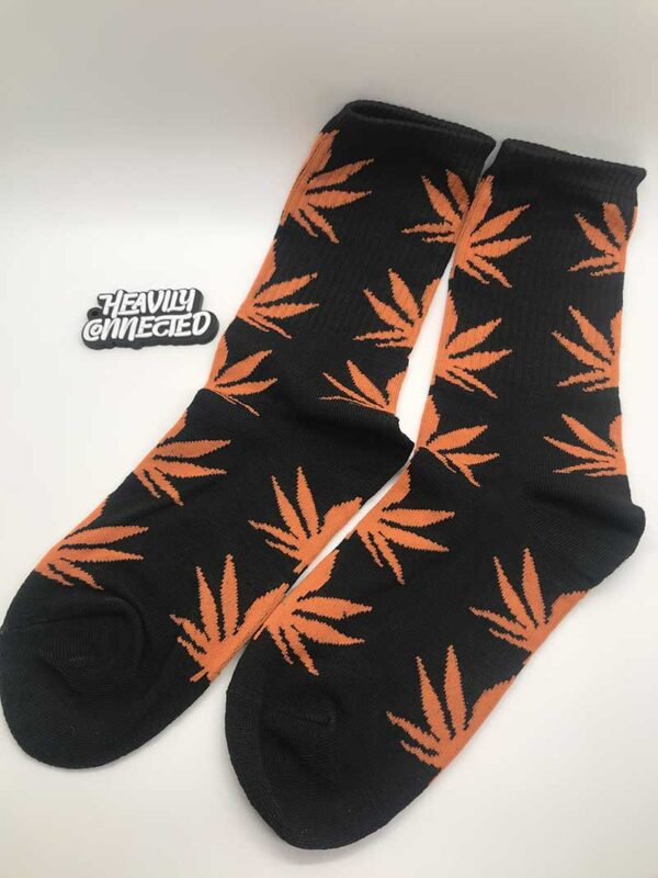 Weed-Socks-Black-Orange