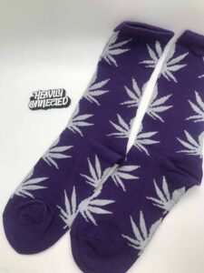 Purple Weed Socks with white leafs