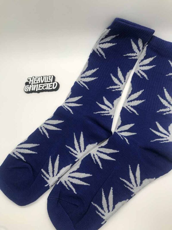Blue Weed Socks - with white leafs