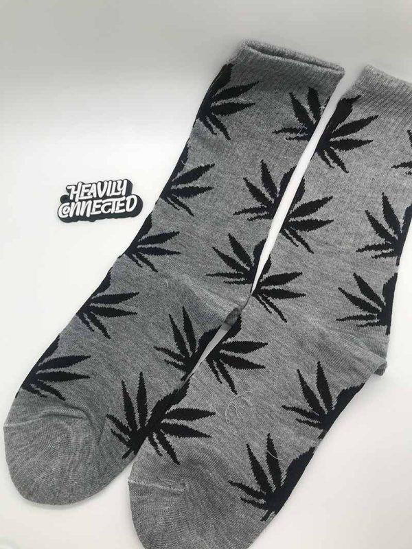 Gray Weed Socks with black marijuana Leafs