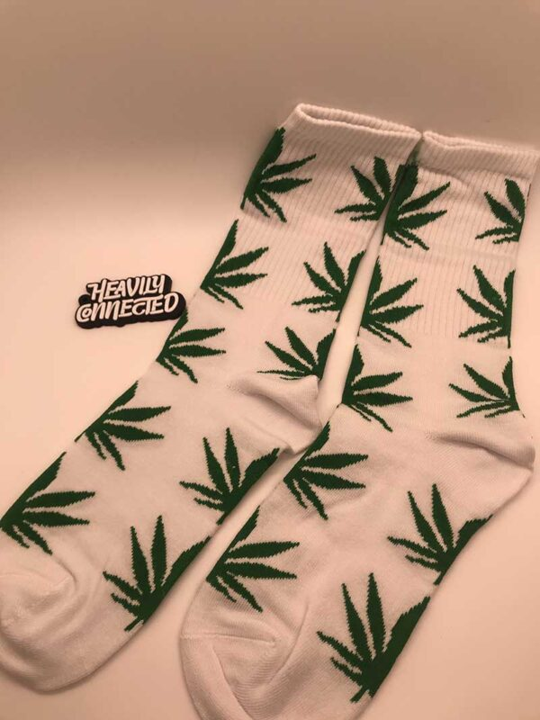White Weed Socks with green marijuana Leafs